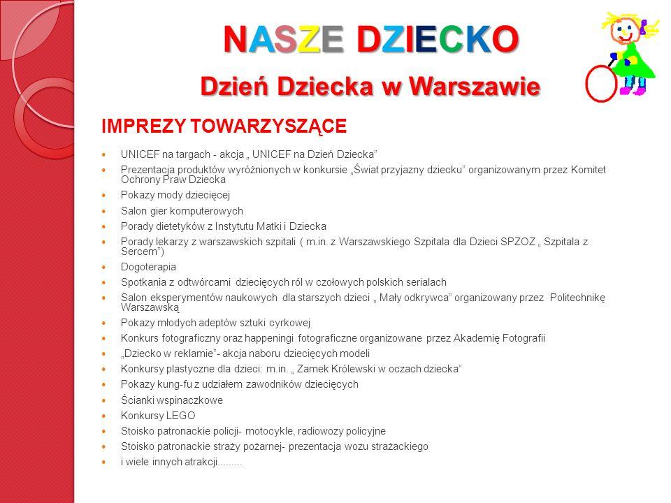 NASZE DZIECKO Dzień Dziecka w Warszawie IMPREZY TOWARZYSZĄCE UNICEF na targach - akcja UNICEF na Dzień Dziecka Prezentacja produktów wyróżnionych w ko