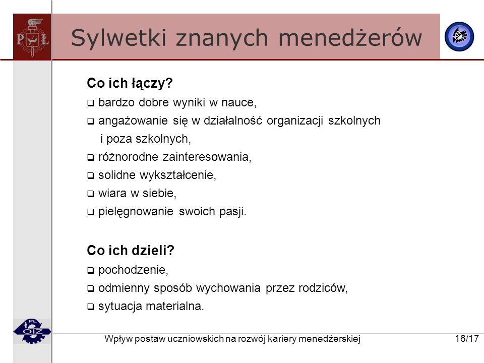 Wpływ postaw uczniowskich na rozwój kariery menedżerskiej 16/17 Sylwetki znanych menedżerów Co ich łączy? bardzo dobre wyniki w nauce, angażowanie się