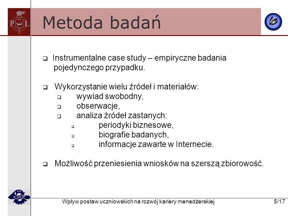 Wpływ postaw uczniowskich na rozwój kariery menedżerskiej 5/17 Metoda badań Instrumentalne case study – empiryczne badania pojedynczego przypadku. Wyk