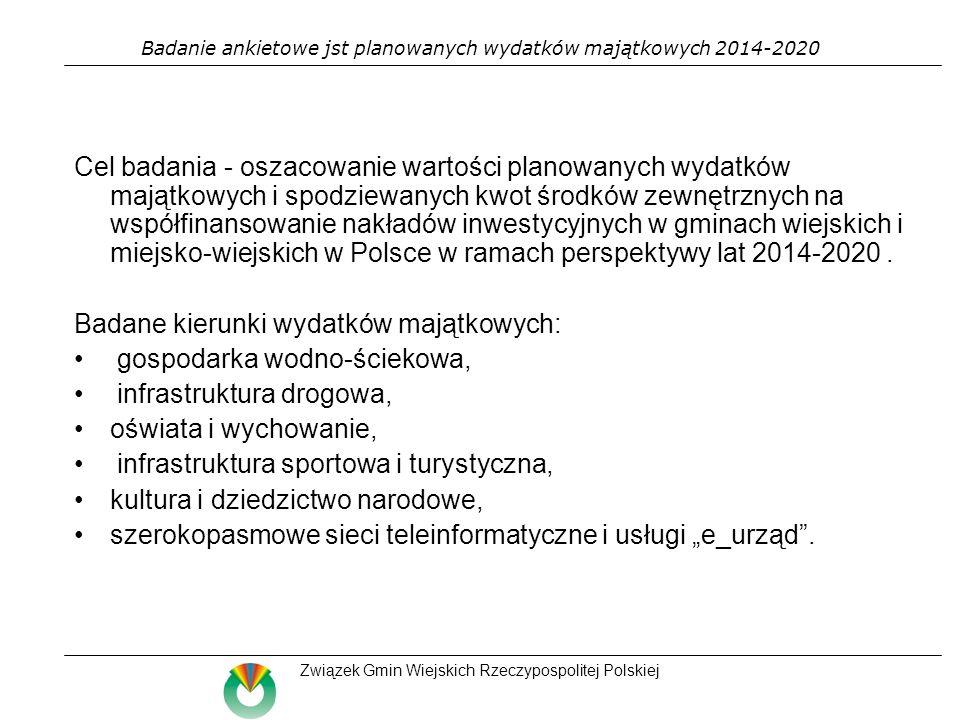Badanie ankietowe jst planowanych wydatków majątkowych 2014-2020 Związek Gmin Wiejskich Rzeczypospolitej Polskiej Liczba gmin wiejskich, których dane ankiet zostały uwzględnione w analizie