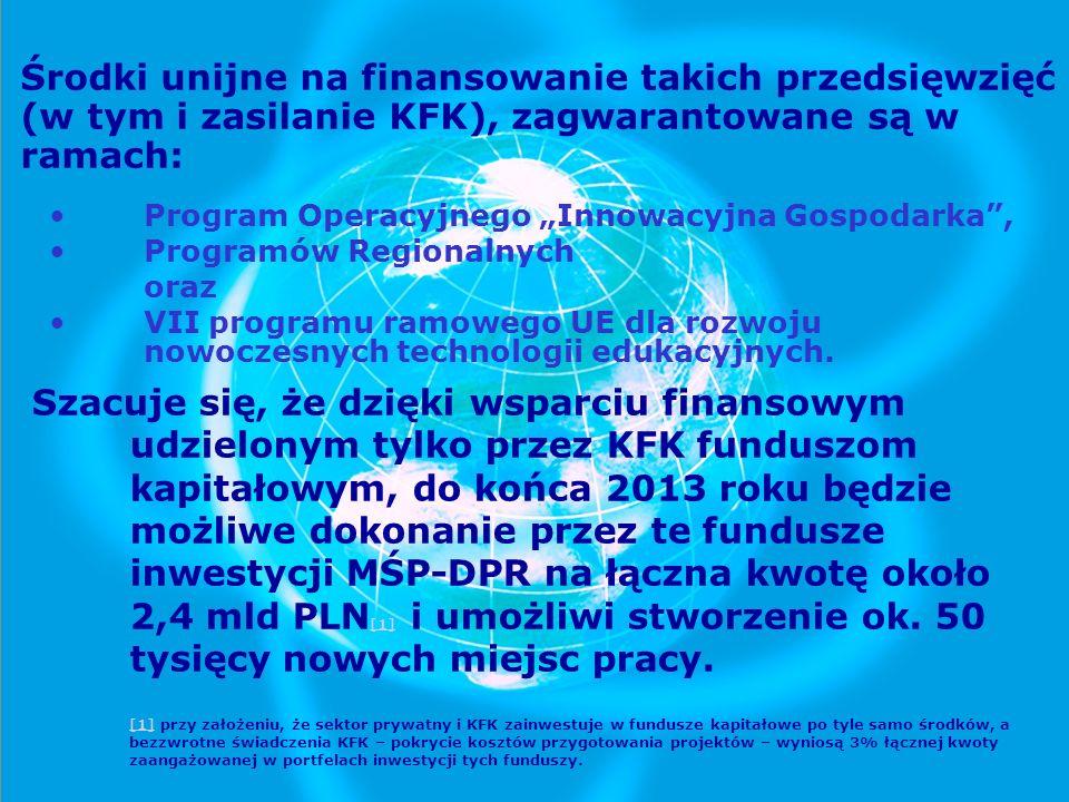 Środki unijne na finansowanie takich przedsięwzięć (w tym i zasilanie KFK), zagwarantowane są w ramach: Program Operacyjnego Innowacyjna Gospodarka, P