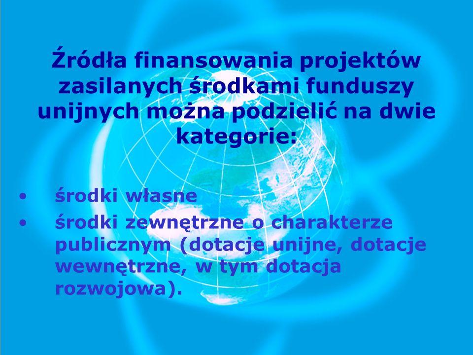 Źródła finansowania projektów zasilanych środkami funduszy unijnych można podzielić na dwie kategorie: środki własne środki zewnętrzne o charakterze p