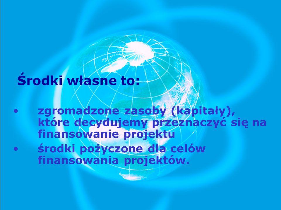 Środki własne to: zgromadzone zasoby (kapitały), które decydujemy przeznaczyć się na finansowanie projektu środki pożyczone dla celów finansowania pro