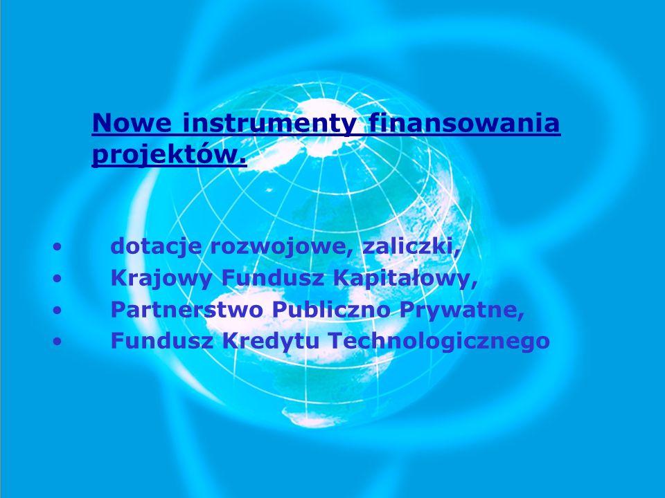 Nowe instrumenty finansowania projektów. dotacje rozwojowe, zaliczki, Krajowy Fundusz Kapitałowy, Partnerstwo Publiczno Prywatne, Fundusz Kredytu Tech
