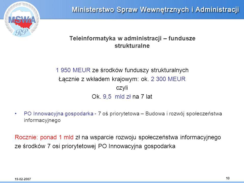 19-02-2007 10 Teleinformatyka w administracji – fundusze strukturalne 1 950 MEUR ze środków funduszy strukturalnych Łącznie z wkładem krajowym: ok. 2
