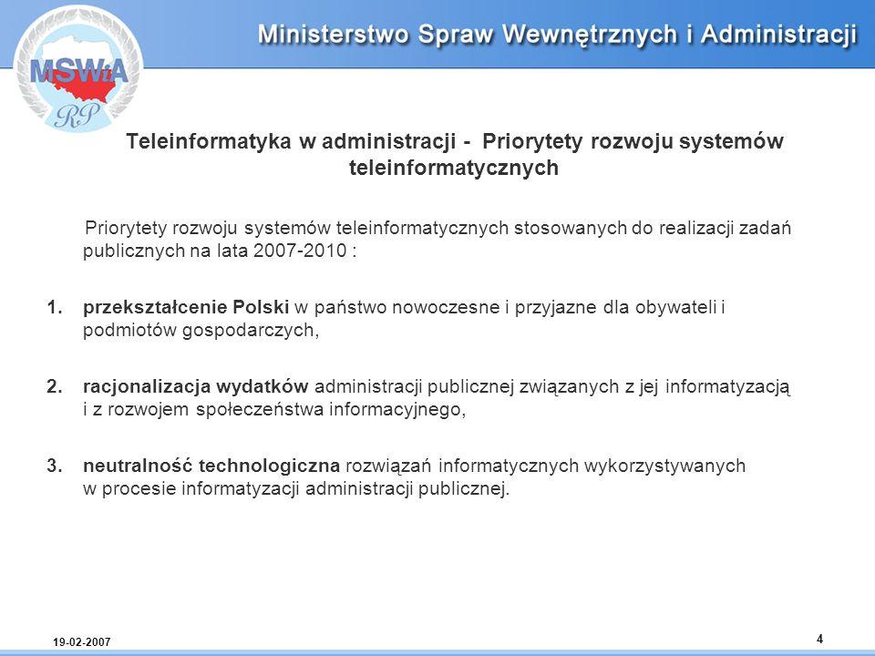 19-02-2007 4 Teleinformatyka w administracji - Priorytety rozwoju systemów teleinformatycznych Priorytety rozwoju systemów teleinformatycznych stosowa