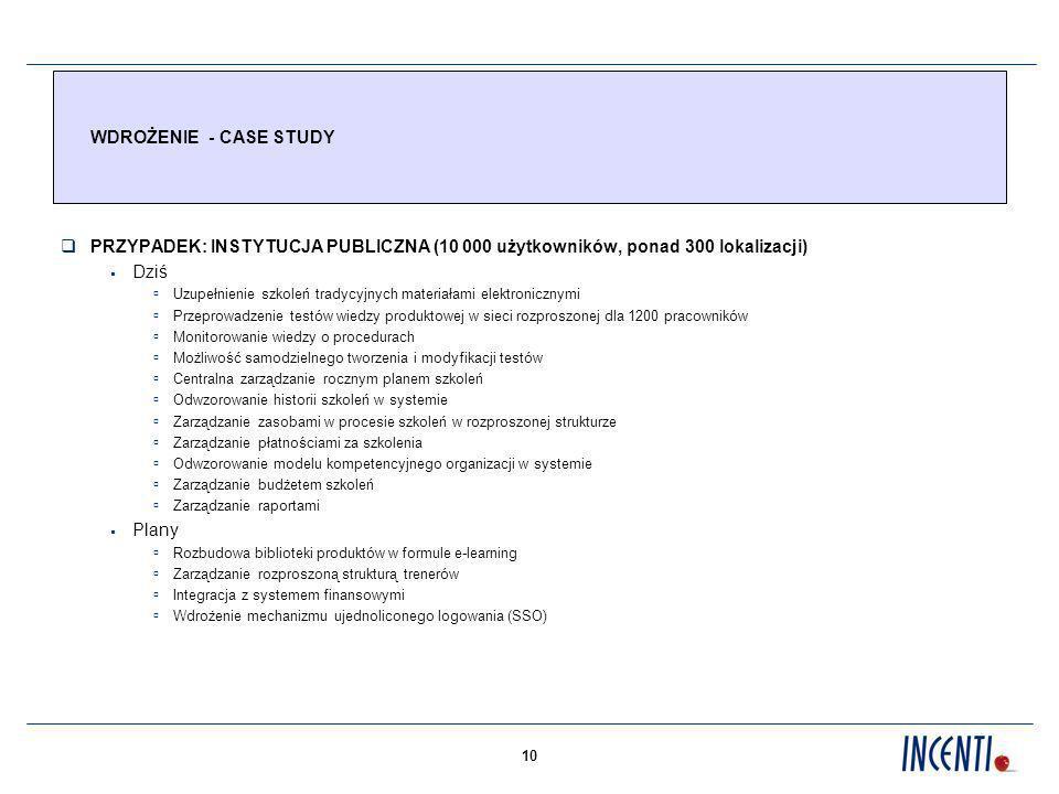 10 WDROŻENIE - CASE STUDY PRZYPADEK: INSTYTUCJA PUBLICZNA (10 000 użytkowników, ponad 300 lokalizacji) Dziś Uzupełnienie szkoleń tradycyjnych materiał