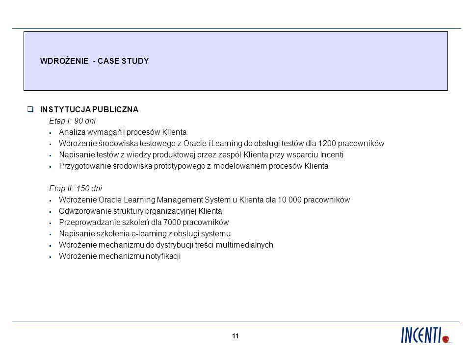 11 WDROŻENIE - CASE STUDY INSTYTUCJA PUBLICZNA Etap I: 90 dni Analiza wymagań i procesów Klienta Wdrożenie środowiska testowego z Oracle iLearning do