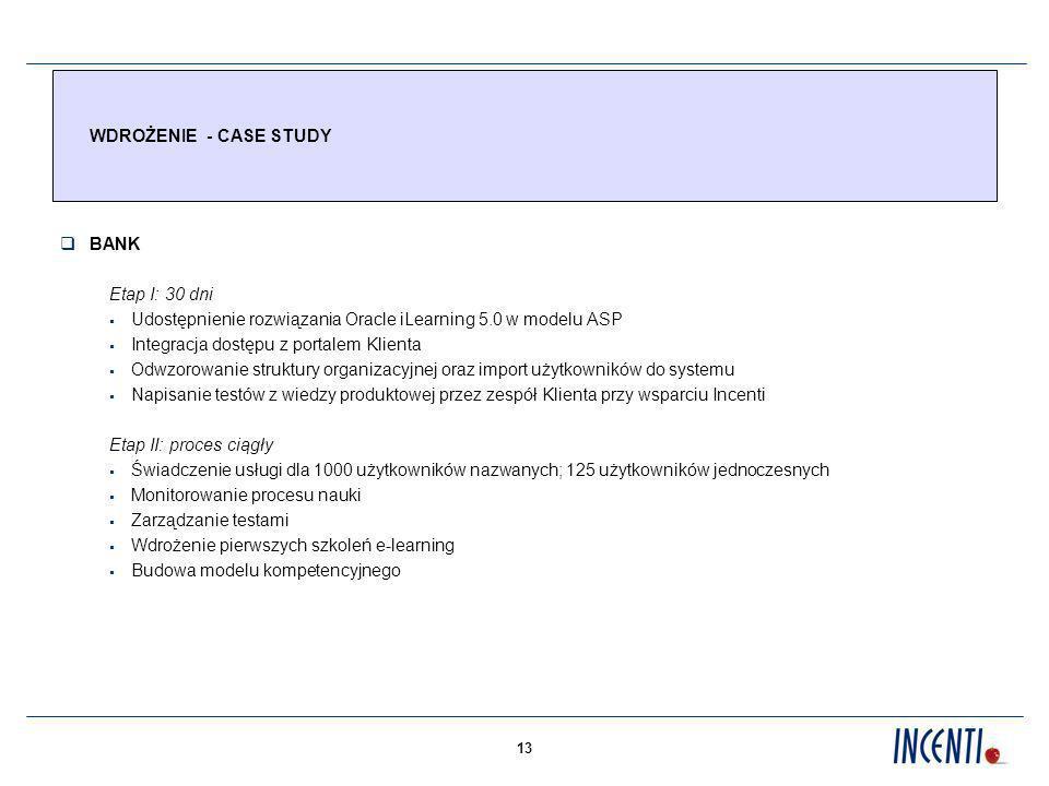13 WDROŻENIE - CASE STUDY BANK Etap I: 30 dni Udostępnienie rozwiązania Oracle iLearning 5.0 w modelu ASP Integracja dostępu z portalem Klienta Odwzorowanie struktury organizacyjnej oraz import użytkowników do systemu Napisanie testów z wiedzy produktowej przez zespół Klienta przy wsparciu Incenti Etap II: proces ciągły Świadczenie usługi dla 1000 użytkowników nazwanych; 125 użytkowników jednoczesnych Monitorowanie procesu nauki Zarządzanie testami Wdrożenie pierwszych szkoleń e-learning Budowa modelu kompetencyjnego