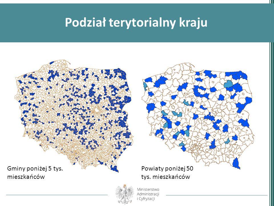 Podział terytorialny kraju Gminy poniżej 5 tys. mieszkańców Powiaty poniżej 50 tys. mieszkańców