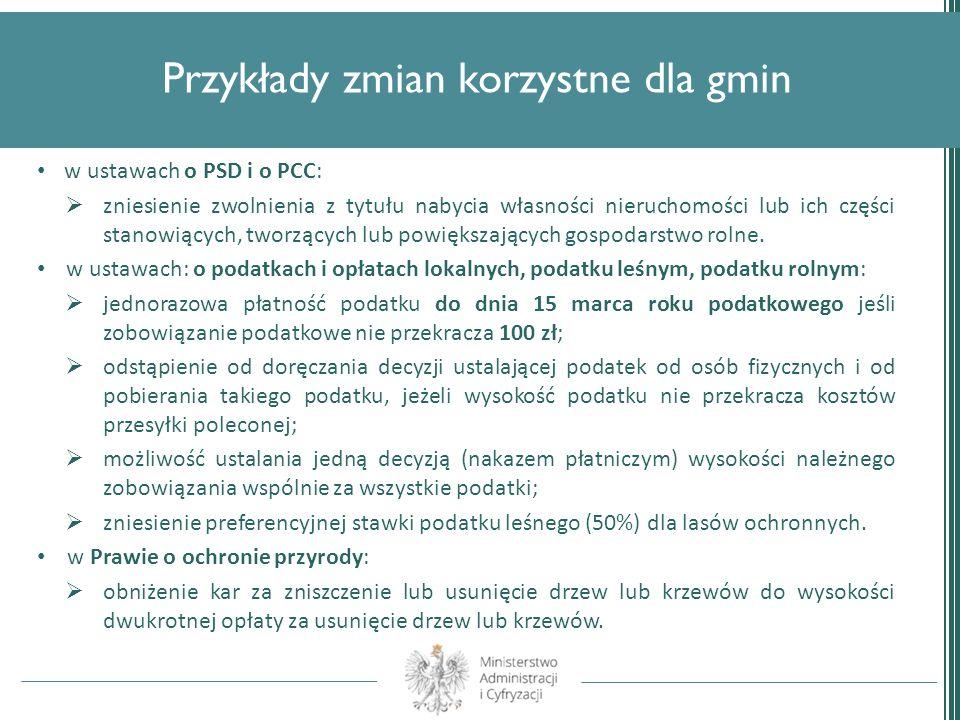 Przykłady zmian korzystne dla gmin w ustawach o PSD i o PCC: zniesienie zwolnienia z tytułu nabycia własności nieruchomości lub ich części stanowiącyc