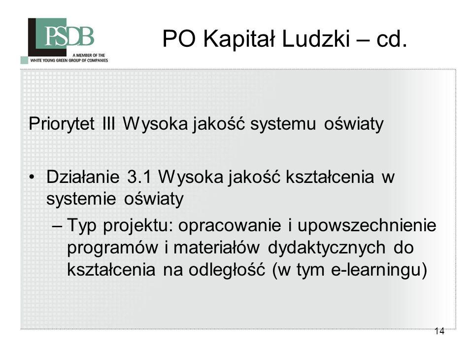 14 PO Kapitał Ludzki – cd. Priorytet III Wysoka jakość systemu oświaty Działanie 3.1 Wysoka jakość kształcenia w systemie oświaty –Typ projektu: oprac