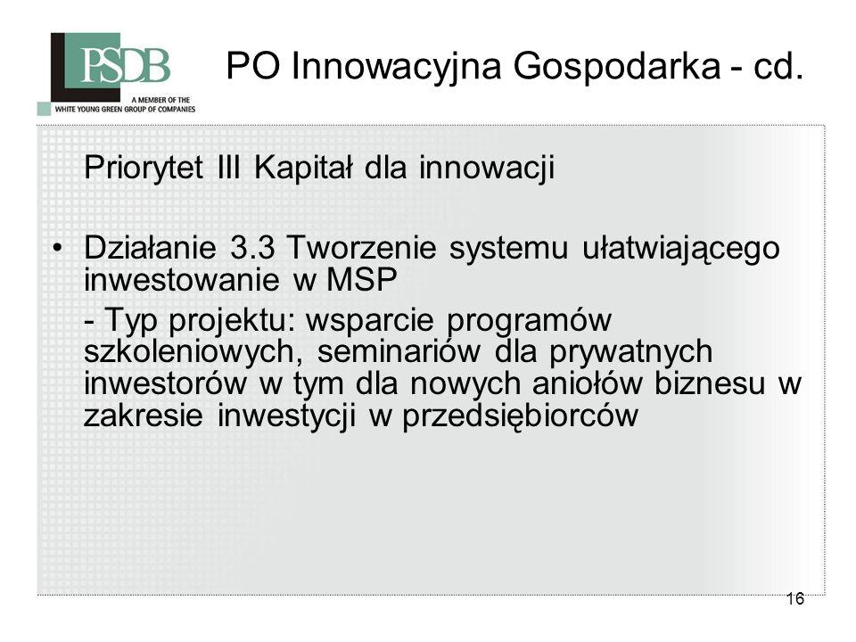 16 PO Innowacyjna Gospodarka - cd. Priorytet III Kapitał dla innowacji Działanie 3.3 Tworzenie systemu ułatwiającego inwestowanie w MSP - Typ projektu