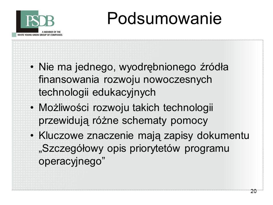 20 Podsumowanie Nie ma jednego, wyodrębnionego źródła finansowania rozwoju nowoczesnych technologii edukacyjnych Możliwości rozwoju takich technologii