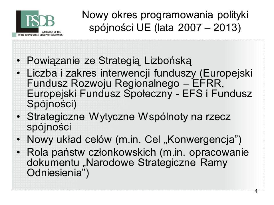 4 Nowy okres programowania polityki spójności UE (lata 2007 – 2013) Powiązanie ze Strategią Lizbońską Liczba i zakres interwencji funduszy (Europejski
