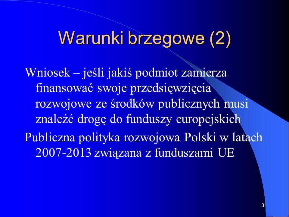 3 Warunki brzegowe (2) Wniosek – jeśli jakiś podmiot zamierza finansować swoje przedsięwzięcia rozwojowe ze środków publicznych musi znaleźć drogę do funduszy europejskich Publiczna polityka rozwojowa Polski w latach 2007-2013 związana z funduszami UE