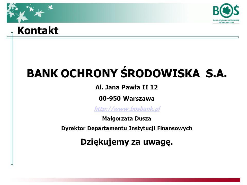 Kontakt BANK OCHRONY ŚRODOWISKA S.A. Al.