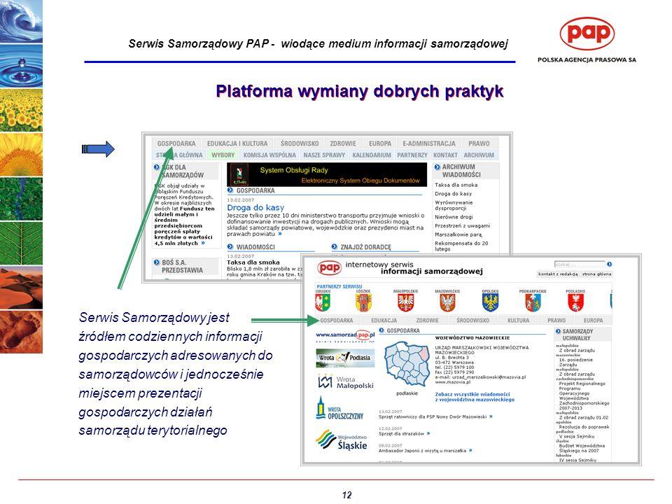 12 Serwis Samorządowy PAP - wiodące medium informacji samorządowej Platforma wymiany dobrych praktyk Serwis Samorządowy jest źródłem codziennych infor