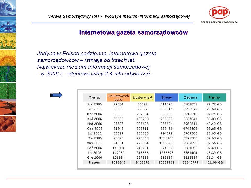 3 Serwis Samorządowy PAP - wiodące medium informacji samorządowej Jedyna w Polsce codzienna, internetowa gazeta samorządowców – istnieje od trzech lat