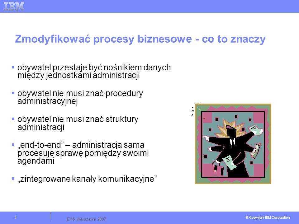 © Copyright IBM Corporation EAS Warszawa 2007 4 Zmodyfikować procesy biznesowe - co to znaczy obywatel przestaje być nośnikiem danych między jednostkami administracji obywatel nie musi znać procedury administracyjnej obywatel nie musi znać struktury administracji end-to-end – administracja sama procesuje sprawę pomiędzy swoimi agendami zintegrowane kanały komunikacyjne