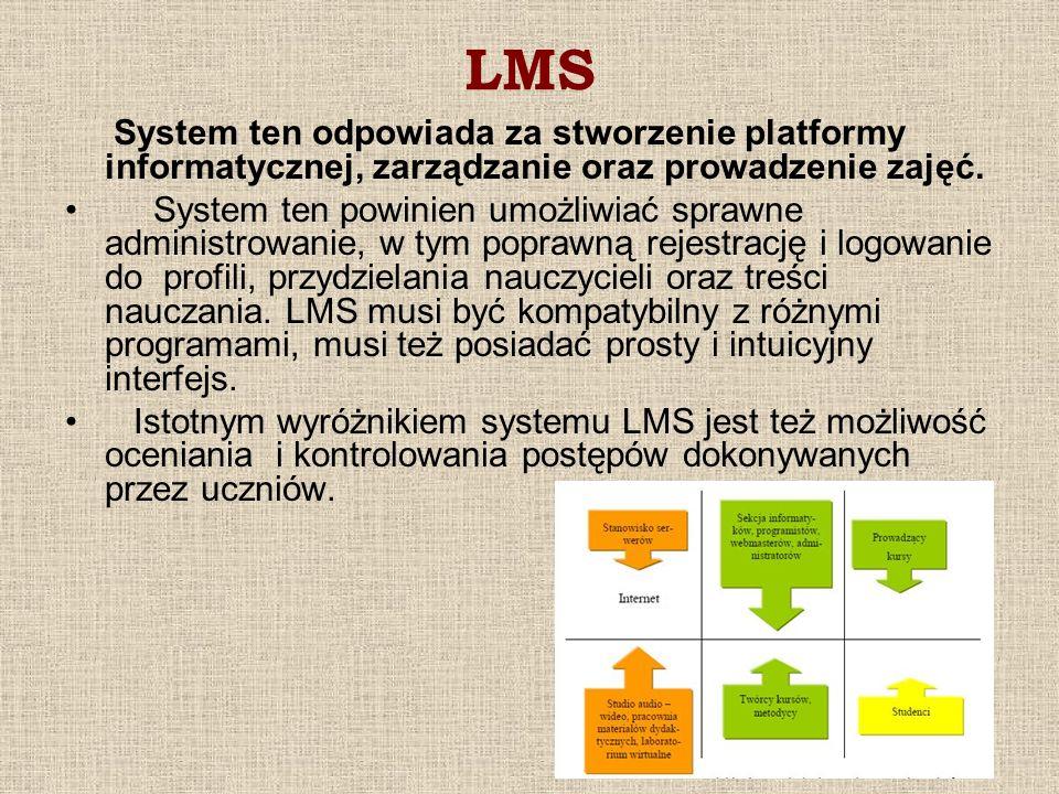 LMS System ten odpowiada za stworzenie platformy informatycznej, zarządzanie oraz prowadzenie zajęć. System ten powinien umożliwiać sprawne administro