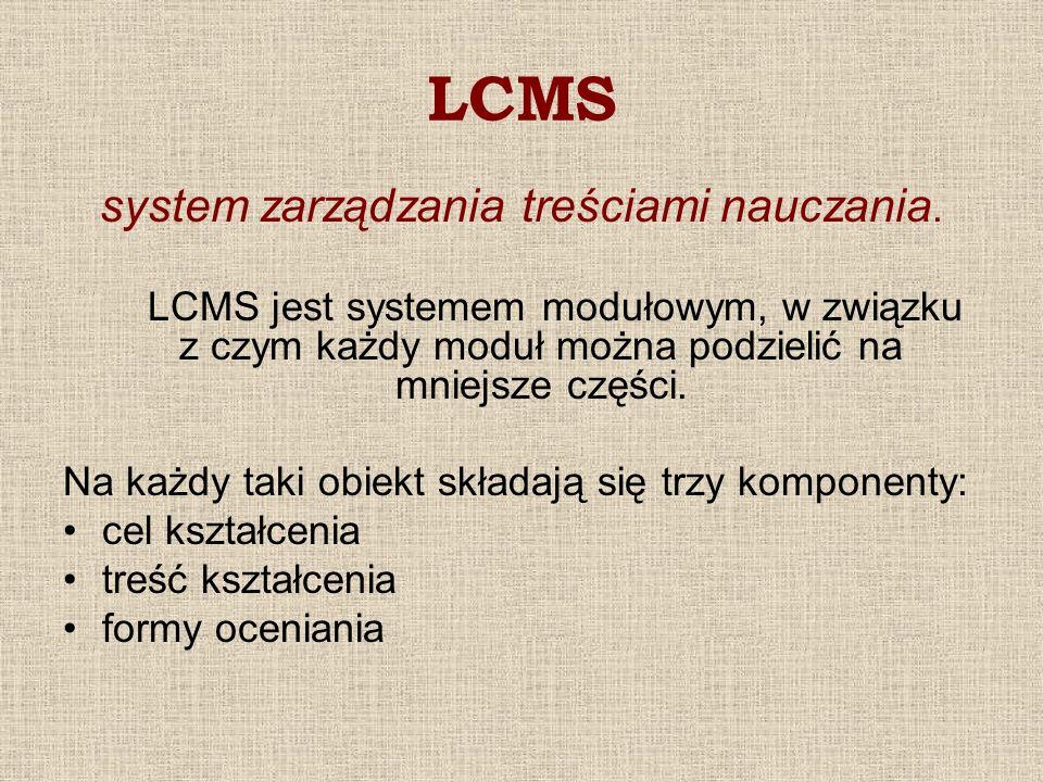 LCMS system zarządzania treściami nauczania. LCMS jest systemem modułowym, w związku z czym każdy moduł można podzielić na mniejsze części. Na każdy t