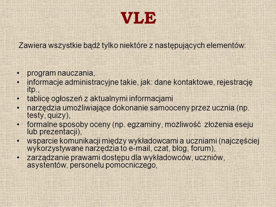 VLE Zawiera wszystkie bądź tylko niektóre z następujących elementów: program nauczania, informacje administracyjne takie, jak: dane kontaktowe, rejest