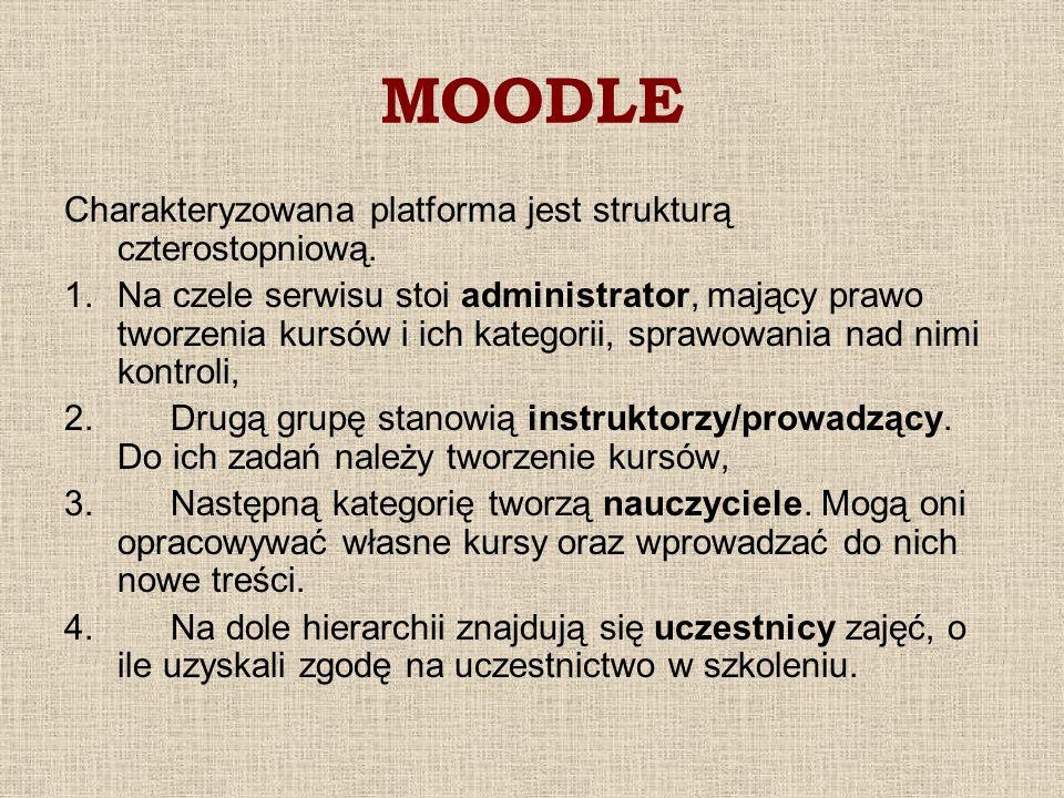 MOODLE Charakteryzowana platforma jest strukturą czterostopniową. 1.Na czele serwisu stoi administrator, mający prawo tworzenia kursów i ich kategorii