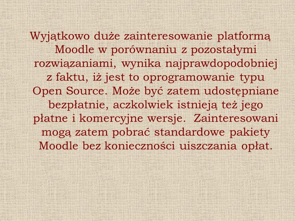 Wyjątkowo duże zainteresowanie platformą Moodle w porównaniu z pozostałymi rozwiązaniami, wynika najprawdopodobniej z faktu, iż jest to oprogramowanie