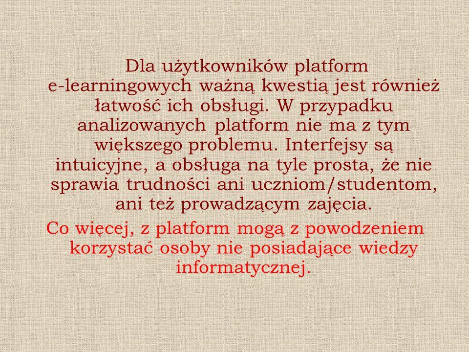 Dla użytkowników platform e-learningowych ważną kwestią jest również łatwość ich obsługi. W przypadku analizowanych platform nie ma z tym większego pr