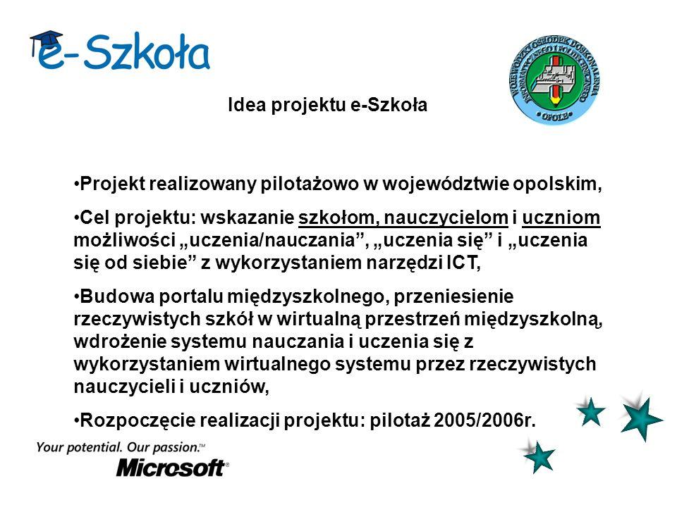 Idea projektu e-Szkoła Projekt realizowany pilotażowo w województwie opolskim, Cel projektu: wskazanie szkołom, nauczycielom i uczniom możliwości ucze