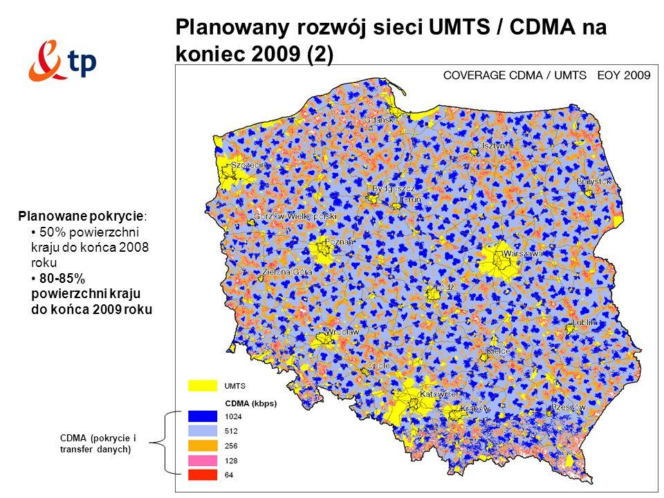 9 Planowany rozwój sieci UMTS / CDMA na koniec 2009 (2) Planowane pokrycie: 50% powierzchni kraju do końca 2008 roku 80-85% powierzchni kraju do końca 2009 roku CDMA (pokrycie i transfer danych)
