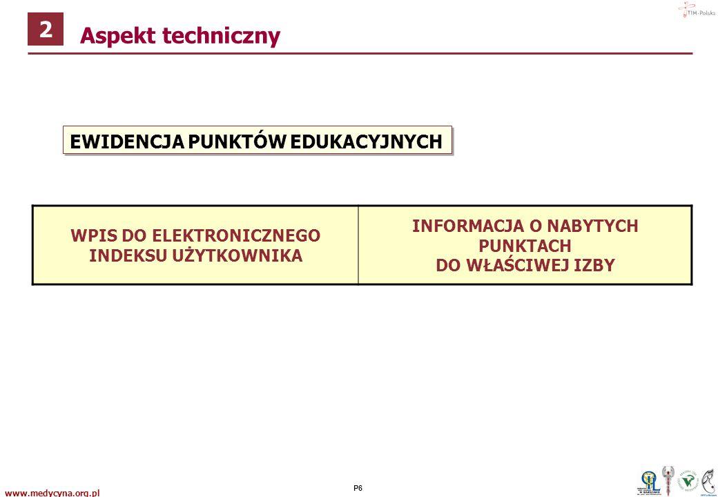 www.medycyna.org.pl P5 ZALICZENIE KURSU Test przyswojenia wiedzy Egzamin (jeżeli są takie wymogi formalne) Wydanie zaświadczenia o ukończeniu kursu Aspekt techniczny 2