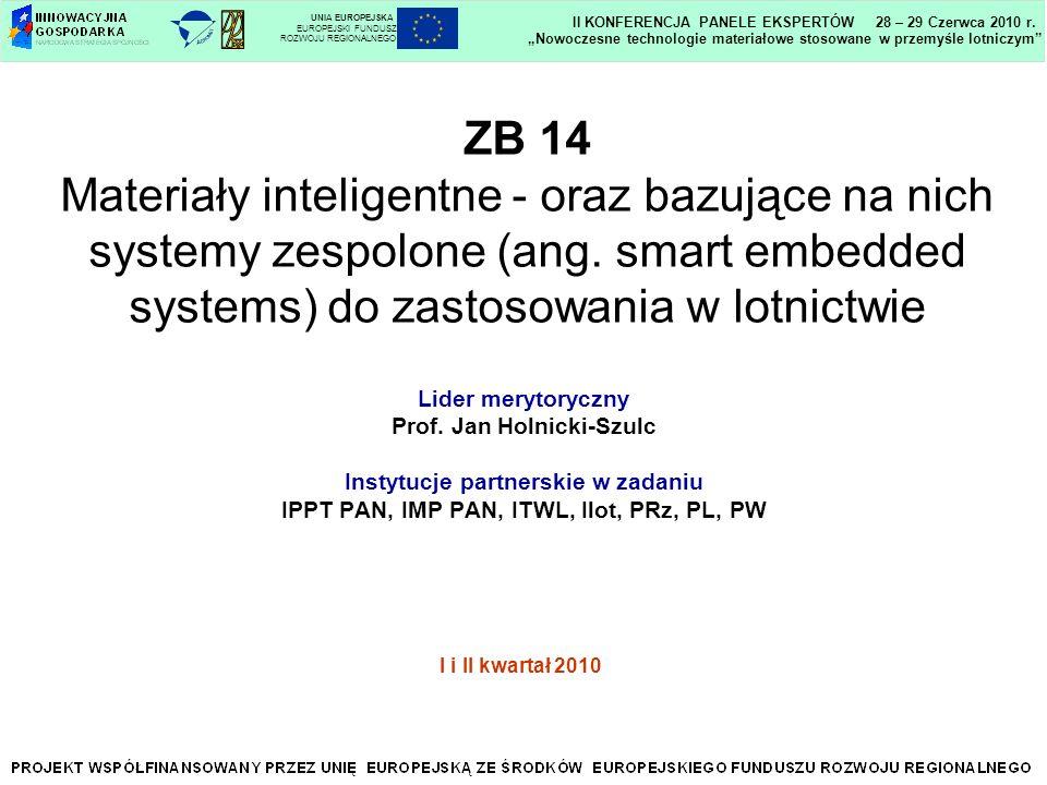 ZB 14 Materiały inteligentne - oraz bazujące na nich systemy zespolone (ang. smart embedded systems) do zastosowania w lotnictwie Lider merytoryczny P