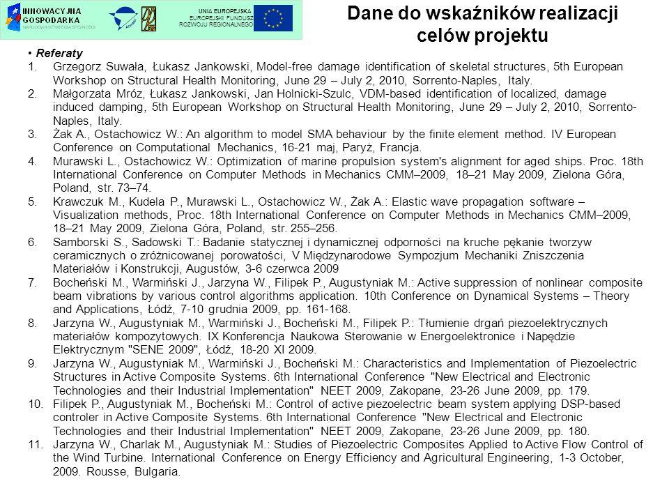 Dane do wskaźników realizacji celów projektu UNIA EUROPEJSKA EUROPEJSKI FUNDUSZ ROZWOJU REGIONALNEGO Referaty 1.Grzegorz Suwała, Łukasz Jankowski, Mod