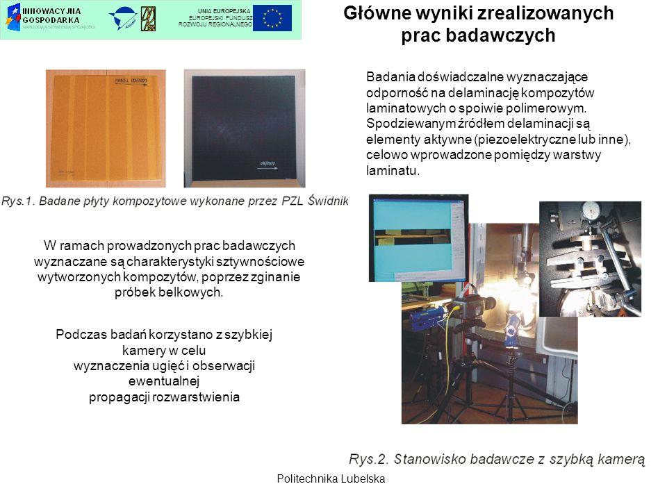 Główne wyniki zrealizowanych prac badawczych UNIA EUROPEJSKA EUROPEJSKI FUNDUSZ ROZWOJU REGIONALNEGO Sformułowano założenia do opracowania układu piezoelektrycznego aktywnie tłumiącego drgania łopat wirników.