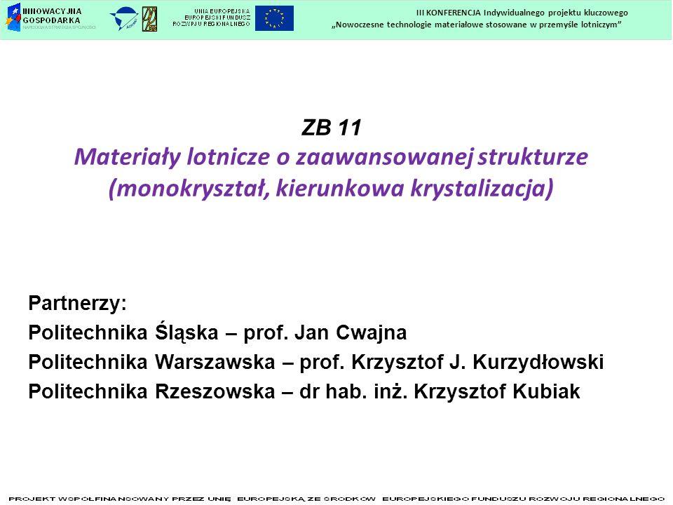 Materiały lotnicze o zaawansowanej strukturze (monokryształ, kierunkowa krystalizacja) ZB 11 Materiały lotnicze o zaawansowanej strukturze (monokryszt