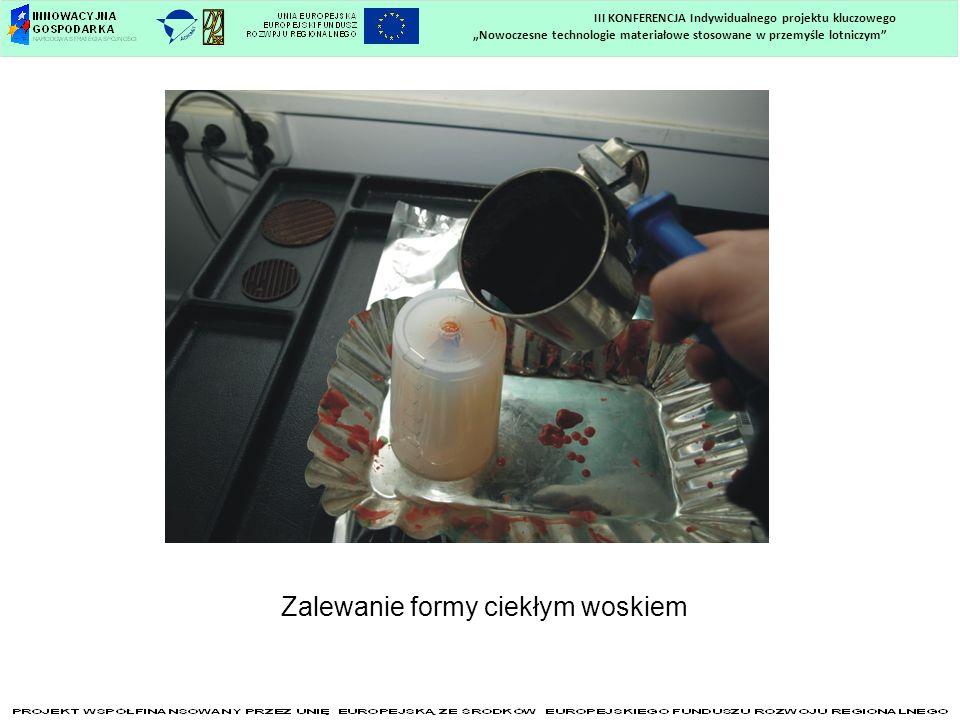 Nowoczesne technologie materiałowe stosowane w przemyśle lotniczym III KONFERENCJA Indywidualnego projektu kluczowego Zalewanie formy ciekłym woskiem