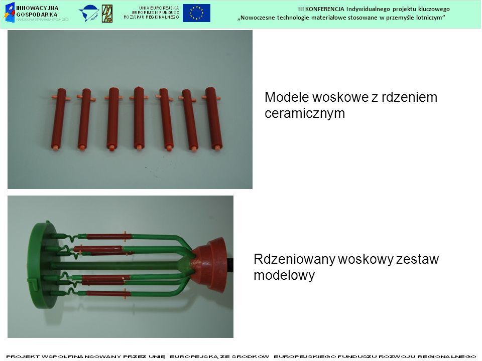 Nowoczesne technologie materiałowe stosowane w przemyśle lotniczym III KONFERENCJA Indywidualnego projektu kluczowego Modele woskowe z rdzeniem cerami
