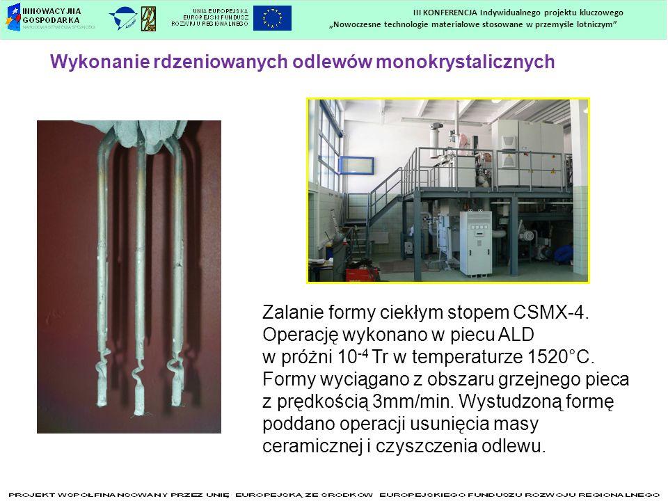 Nowoczesne technologie materiałowe stosowane w przemyśle lotniczym III KONFERENCJA Indywidualnego projektu kluczowego Wykonanie rdzeniowanych odlewów