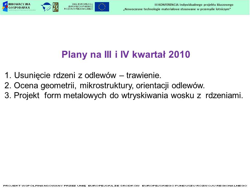 Nowoczesne technologie materiałowe stosowane w przemyśle lotniczym III KONFERENCJA Indywidualnego projektu kluczowego Plany na III i IV kwartał 2010 1