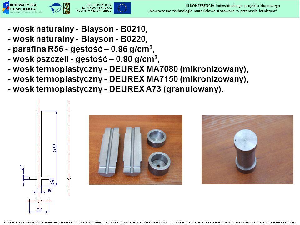 - wosk naturalny - Blayson - B0210, - wosk naturalny - Blayson - B0220, - parafina R56 - gęstość – 0,96 g/cm 3, - wosk pszczeli - gęstość – 0,90 g/cm