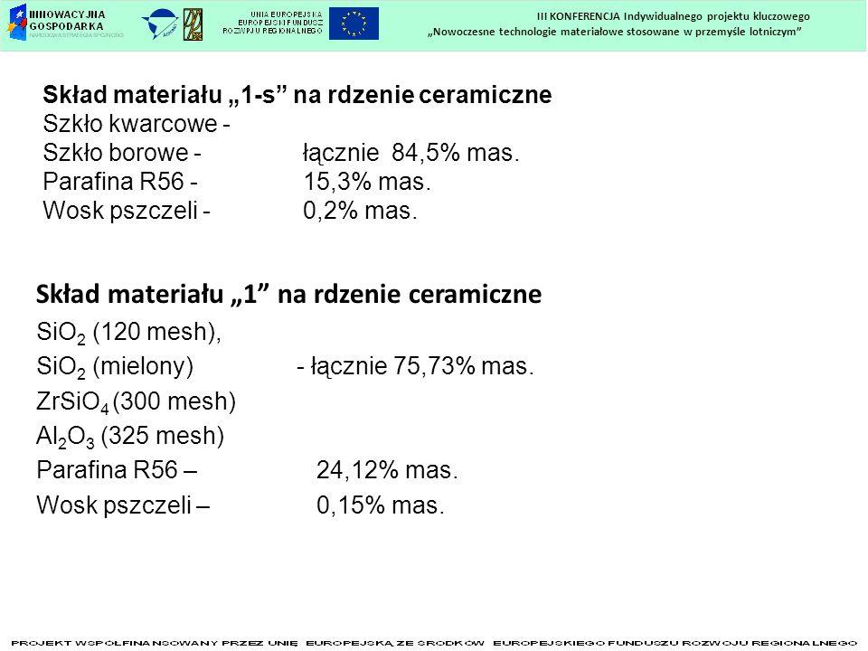 Skład materiału 1-s na rdzenie ceramiczne Szkło kwarcowe - Szkło borowe - łącznie 84,5% mas. Parafina R56 -15,3% mas. Wosk pszczeli -0,2% mas. Skład m