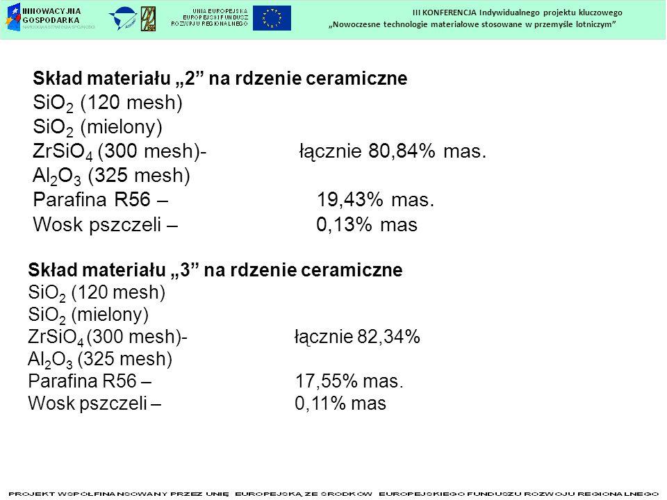 Skład materiału 2 na rdzenie ceramiczne SiO 2 (120 mesh) SiO 2 (mielony) ZrSiO 4 (300 mesh)- łącznie 80,84% mas. Al 2 O 3 (325 mesh) Parafina R56 – 19