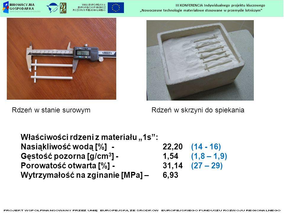 Nowoczesne technologie materiałowe stosowane w przemyśle lotniczym III KONFERENCJA Indywidualnego projektu kluczowego Rdzeń w stanie surowymRdzeń w sk