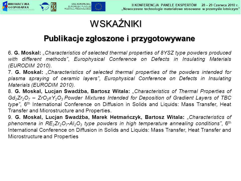 Publikacje zgłoszone i przygotowywane 6. G. Moskal: Characteristics of selected thermal properties of 8YSZ type powders produced with different method