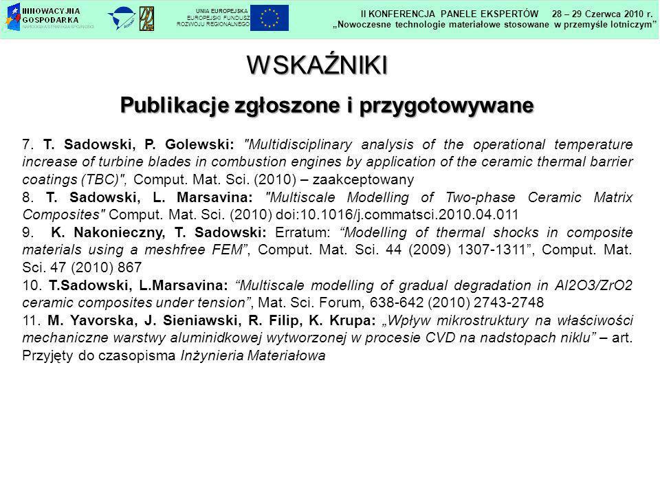 Publikacje zgłoszone i przygotowywane 7. T. Sadowski, P. Golewski: