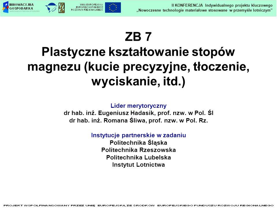 ZB 7 Plastyczne kształtowanie stopów magnezu (kucie precyzyjne, tłoczenie, wyciskanie, itd.) Lider merytoryczny dr hab. inż. Eugeniusz Hadasik, prof.