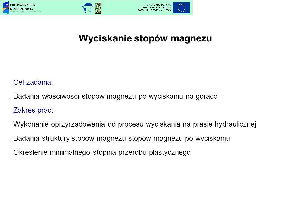 Cel zadania: Badania właściwości stopów magnezu po wyciskaniu na gorąco Zakres prac: Wykonanie oprzyrządowania do procesu wyciskania na prasie hydraul