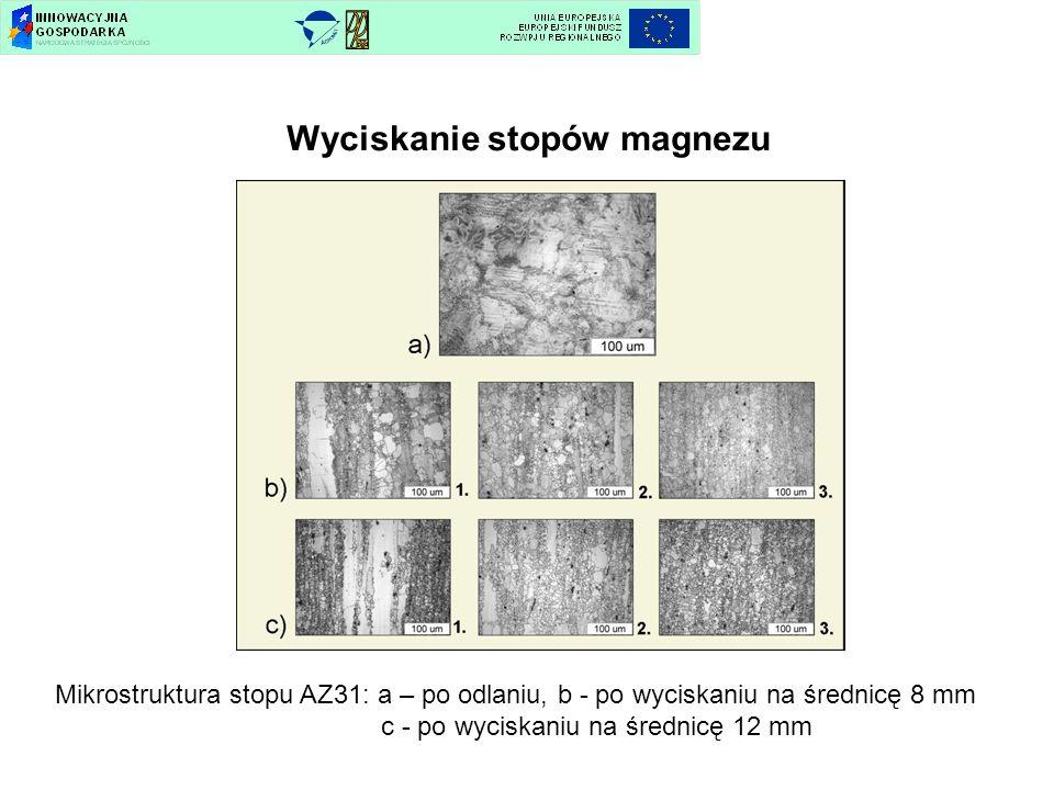 Wyciskanie stopów magnezu Mikrostruktura stopu AZ31: a – po odlaniu, b - po wyciskaniu na średnicę 8 mm c - po wyciskaniu na średnicę 12 mm